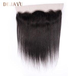 Image 4 - Dejavu ישר שיער טבעי 3 חבילות עם פרונטאלית ברזילאי שיער 13*4 תחרה פרונטאלית סגר עם חבילות שאינו רמי הארכת שיער