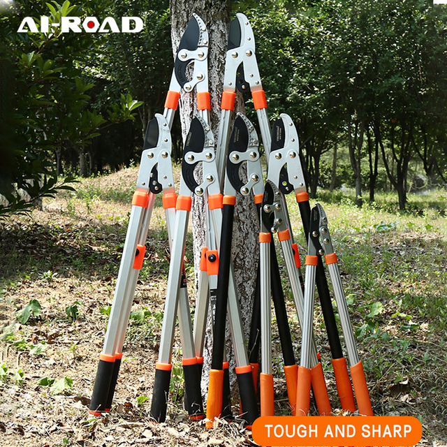 AI-ROAD New Telescopic Long Length Scissor Hedge Anvil Shear Anti-Slip Garden Pruning Hand Tool Ratchet Cut Tree Branch Pruners 1