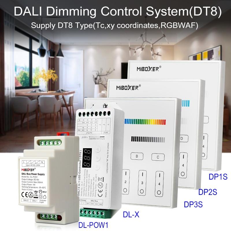 Miboxer dali escurecimento sistema de controle (dt8) 86 dali 5 em 1 painel de toque led controlador dali bus fonte alimentação trilho din para lâmpadas led