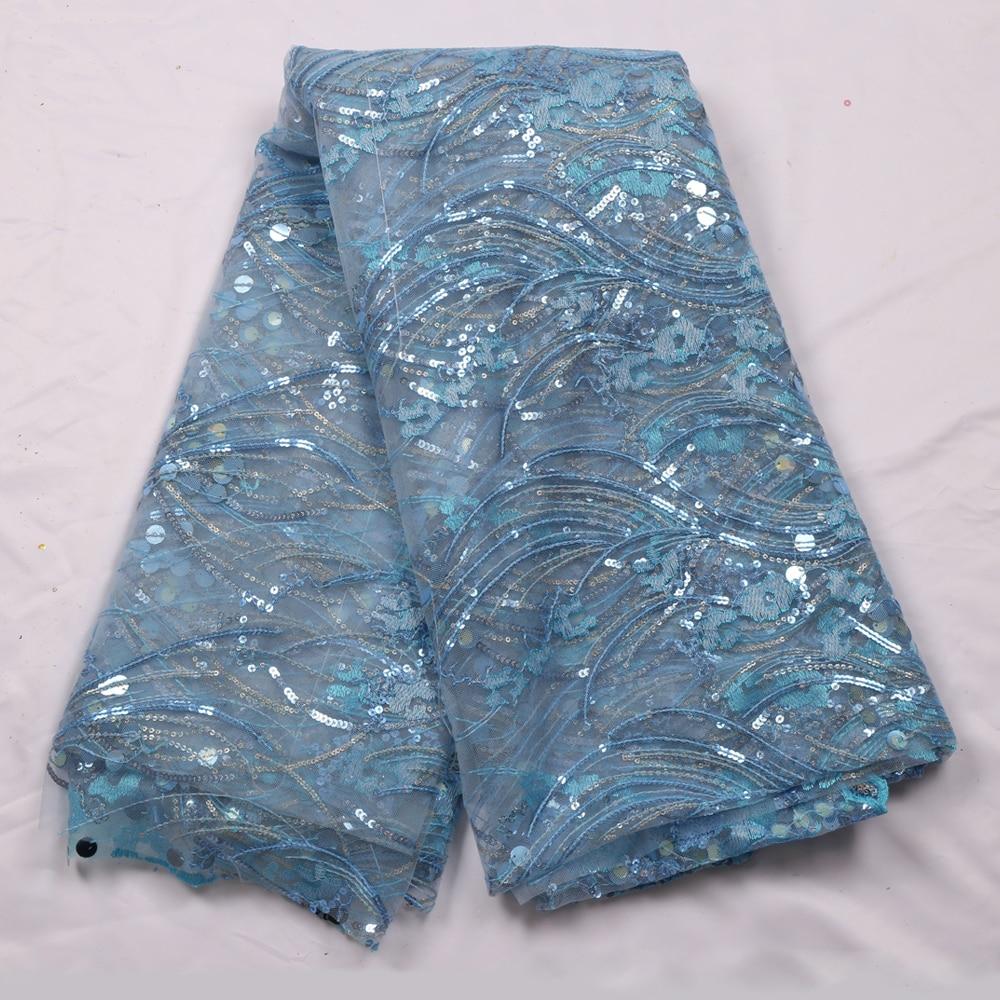 Dernières 5 Yards africain haute qualité dentelle tissu français dentelle tissu broderie Tulle dentelle avec des paillettes pour robe de mariée YS-9449