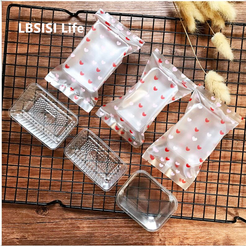 LBSISI Life 100pcs Frosted Heart Flower Hot Seal Bag Pineapple Cake Nougat Candy Bean Sorbet Package Plastic Bags With Bottom