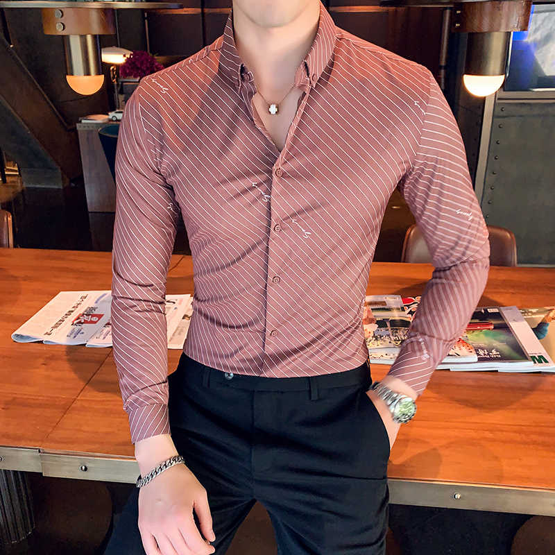 Chemise Homme British Style Men Stripe Shirt Long Sleeve High Quality Turn Down Collar Business Social Shirts Men Club Tuxedo