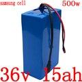 36V elektrische fahrrad batterie 36V 12AH 15AH 18AH lithium-batterie 500W 36V 15ah ebike batterie verwenden samsung zelle mit 42V 2A ladegerät