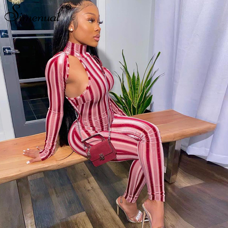 Simenual Striped Hollow Out Fitness Rompers Womens Jumpsuit Sporty Workout Long Sleeve Casual Active Wear 2019 Skinny Jumpsuits