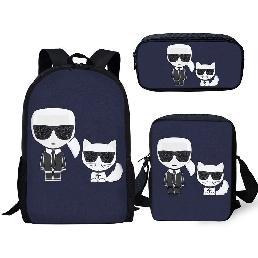 HaoYun 3PCs Set Children's Backpack Karl Lagerfelds Designer Pattern School Book Bag Students Backpack/Flaps Bag/Pen Bag Mochila
