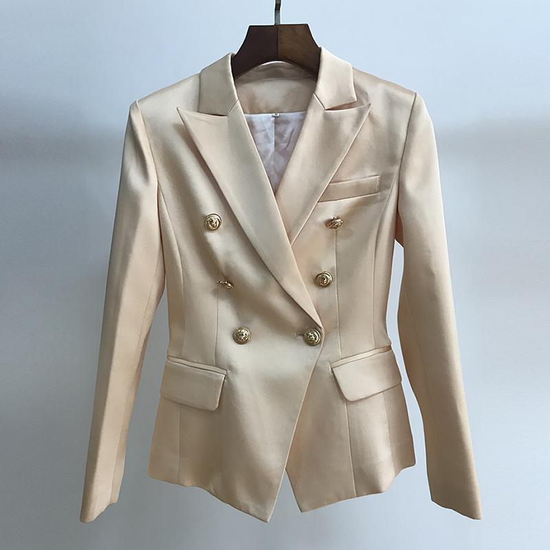 HIGH STREET 2020 Stylish Designer Blazer Jacket Women's Classic Slim Fitting Metal Lion Button Satin Blazer