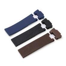 Rolamy 22*10mm/25*12mm czarny brązowy niebieski wodoodporna wymiana gumy silikonowej Wrist Watch Band pasek pas dla Ulysse Nardin