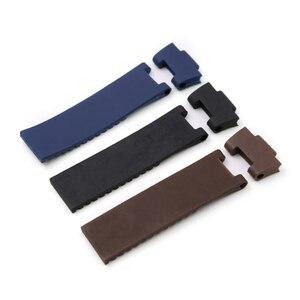 Image 1 - Rolamy sangle de rechange étanche en caoutchouc Silicone, noir marron bleu, 22*10mm/25*12mm, bracelet de montre pour Ulysse Nardin