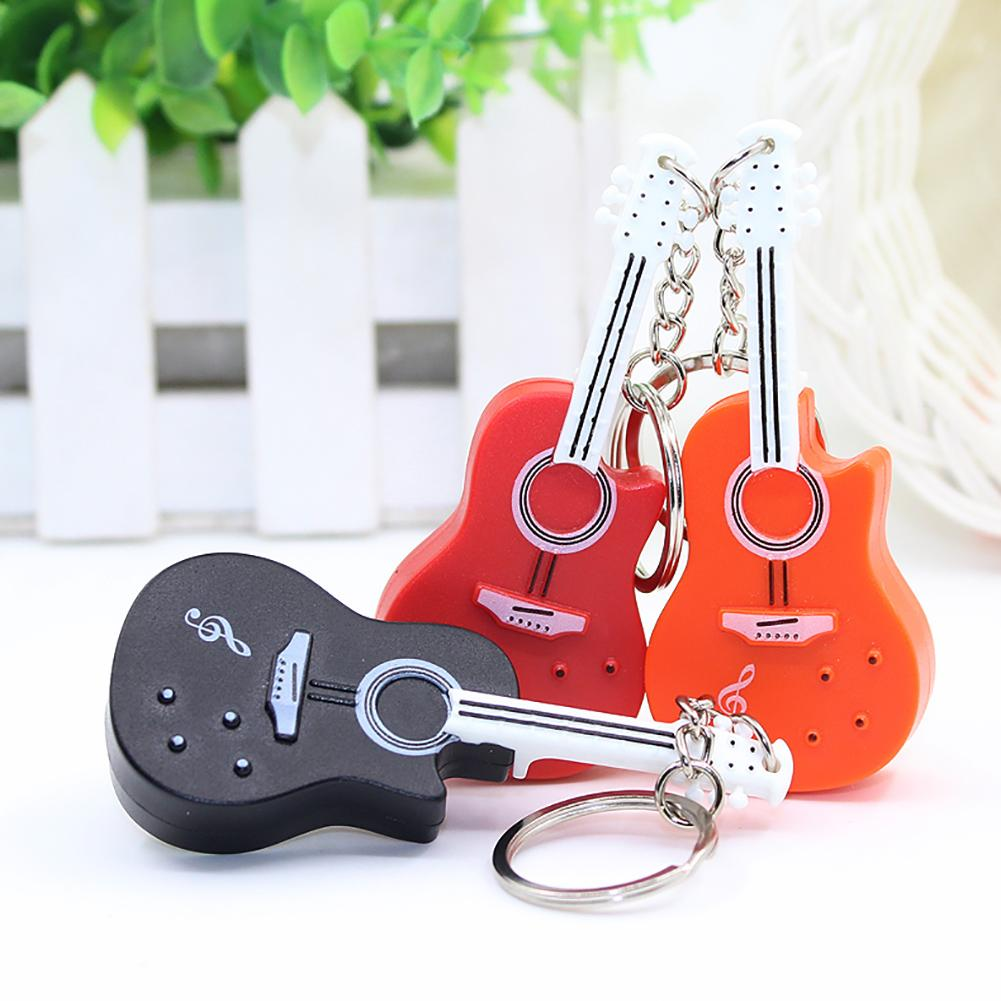 Funny Guitar with LED Light Sound Keychain Key Ring Holder Hanging Ornament Keychain plastic guitar shape hanging decoration