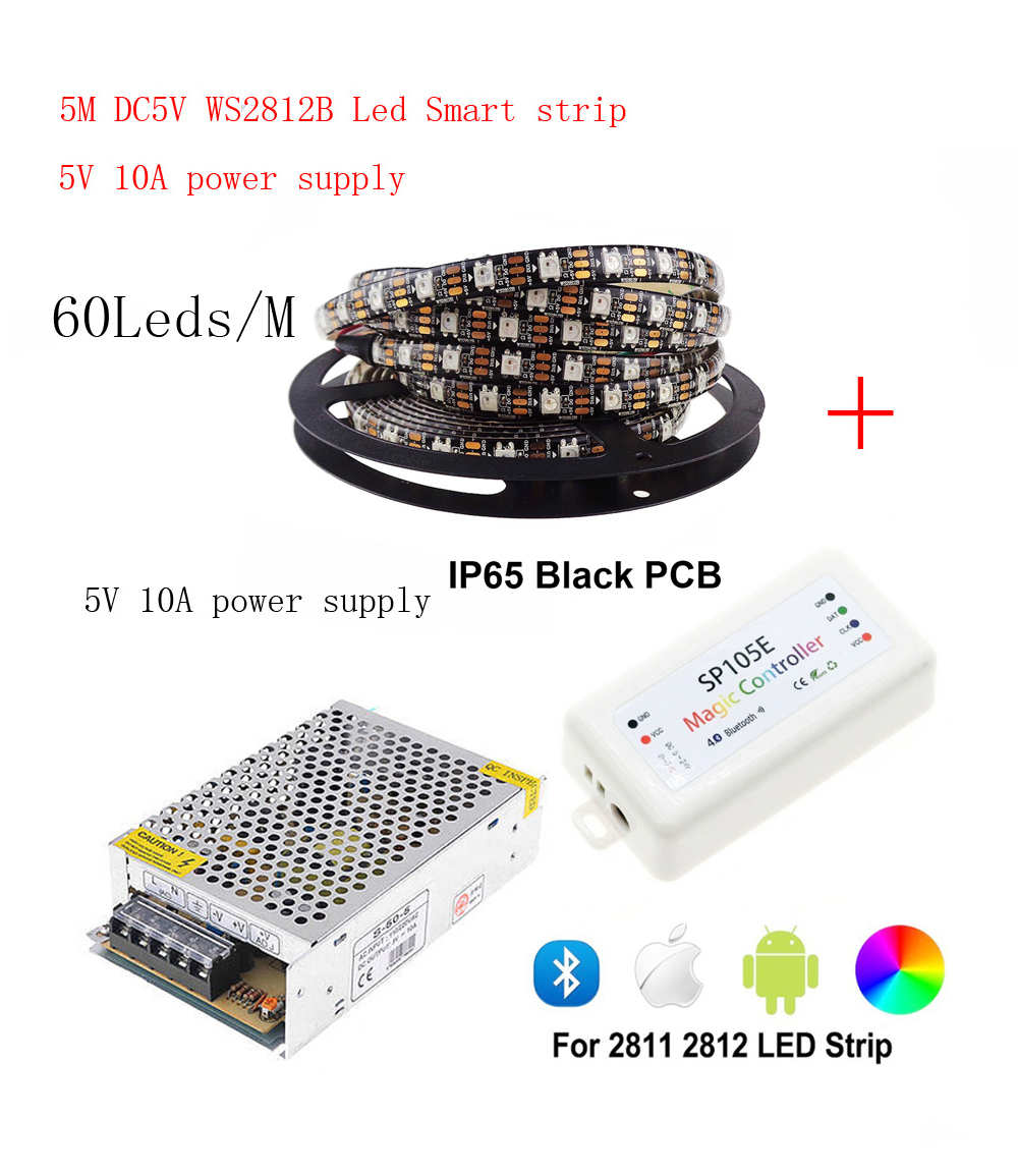 5m DC5V <font><b>WS2812B</b></font> Led Strip 60 pixels/leds/m WS2812 IC Smart <font><b>5050</b></font> <font><b>RGB</b></font> led Strip light+5V LED Power Supply + LED Controller image