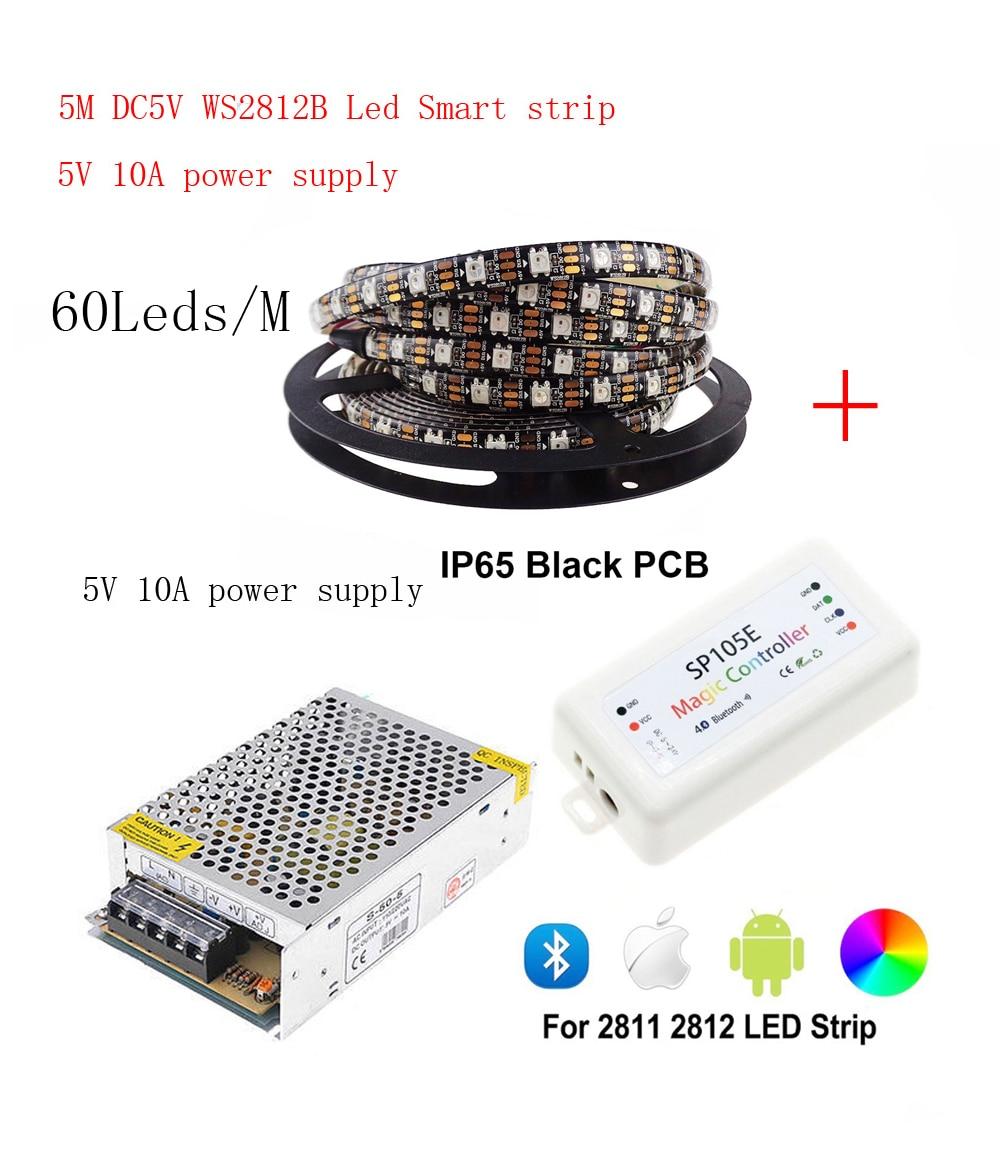 5m DC5V WS2812B bande de LED 60 pixels/LED s/m WS2812 IC Smart 5050 RGB LED lumière de bande + 5V alimentation en alimentation LED + LED de contrôle