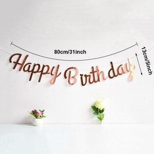 Image 2 - Różowe złoto dekoracja urodzinowa Banner pierwsze pierwsze urodziny chłopiec dziewczyna Party dzieci dorosły trznadel tkaniny flagi Garland jeden rok