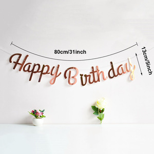 Image 2 - Rose Gold Happy Birthday Decoration Banner 1st First Birthday Boy Girl Party Kids Adult Bunting Fabric Flags Garland One Year