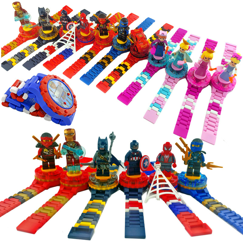 Super Hero Spiderman Building Block Children Watch Ninjagoed Marvel Avengers Compatible With Legoed Figures Bricks Kid Toy Clock