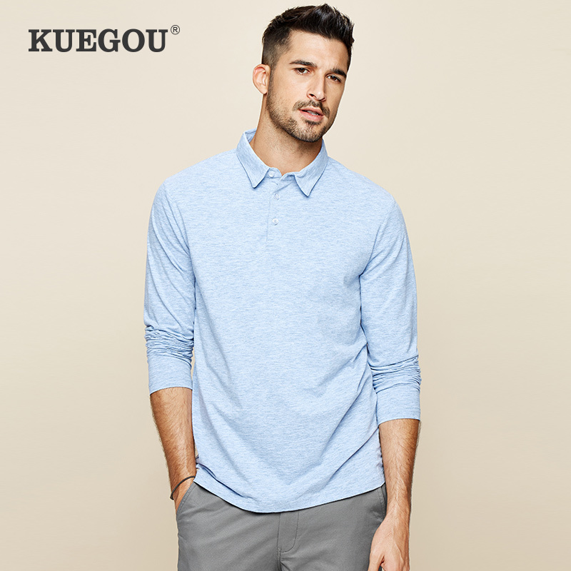 KUEGOU 2020 Spring Cotton Plain Blue Polo Shirt Men Fashions Long Sleeve Slim Fit Poloshirt For Male Wear Clothes Brands Top 227