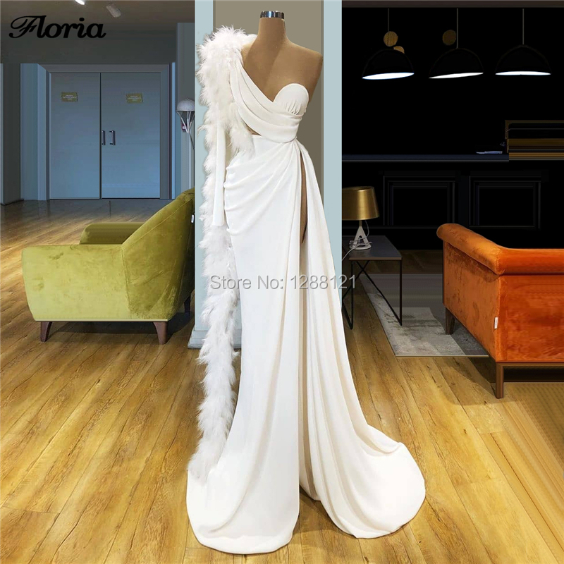 Sirène Robe De soirée 2020 formelle robes De bal plumes islamique longue Robe De soirée Dubai Robe De fête pour les femmes moyen-orient nouveau