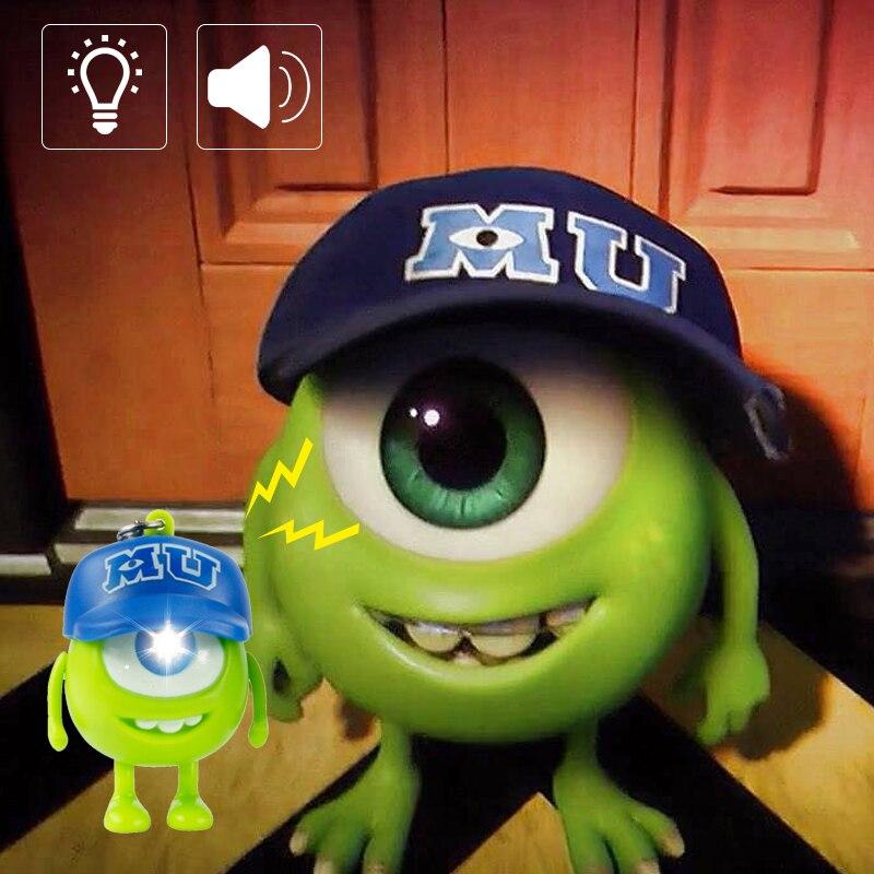 Fashion Monsters University Mr.Q LED Cartoon Keychain Car Pendants Key Ring Light Key Chain Children Gift Big Eyes Keychain