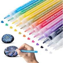 12 colores de pintura de acrílico conjunto de marcadores a base de agua rotulador de Arte de 0,7-2mm de punta fina para bricolaje de cerámica de vidrio de madera