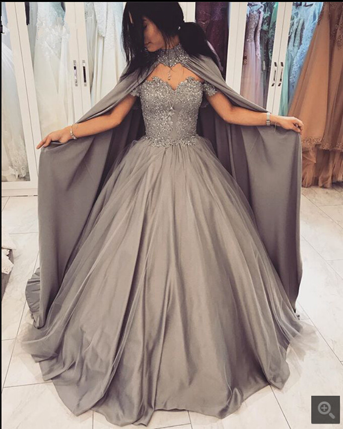 2020 New Arrival Grey Tulle Ball Gown Prom Dresses Off The Shoulder Short Sleeve With Cape Prom Gowns Beaded Prom Dresses