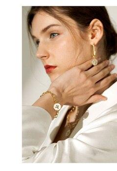 Latón con 14 K Floral dorado Shell encanto pulsera de las mujeres joyería de la boda Vestido Chic dulce Boho moda OL simplemente INS Japón coreano