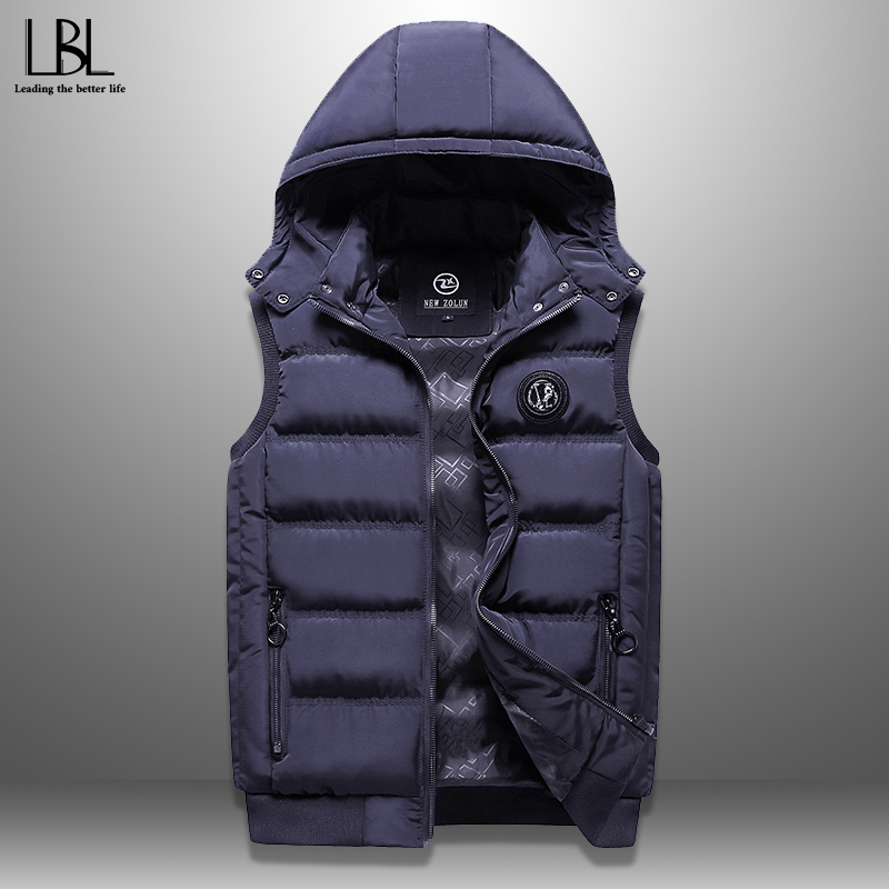 Mens Jacket Sleeveless Vest Winter New Fashion Casual Coats Male Cotton-Padded Men's Vest Outwear Thicken Waistcoats Windproof