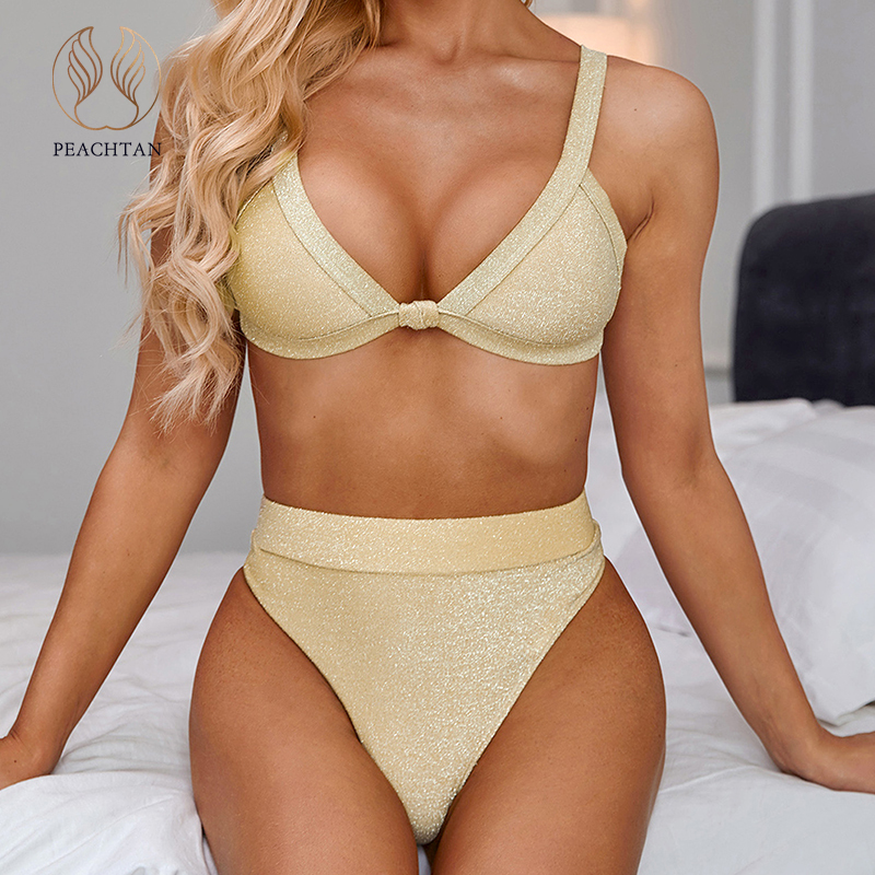 Peachtan Sexy Gold Swimsuit Female Push Up Bikini 2020 New High Waist Swimwear Women High Cut Bathing Suit Summer Bathers Bikini
