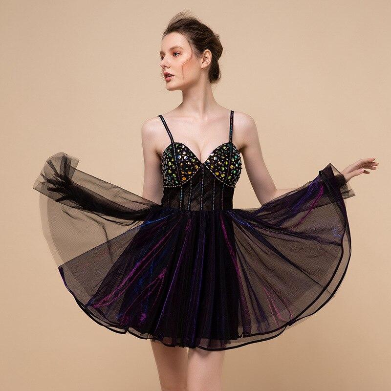 Nouveau noir Puffy robes partie Sexy robes de bal 2019 court dos nu Mini robe de bal robes perlées noir Tulle robe de bal élégant