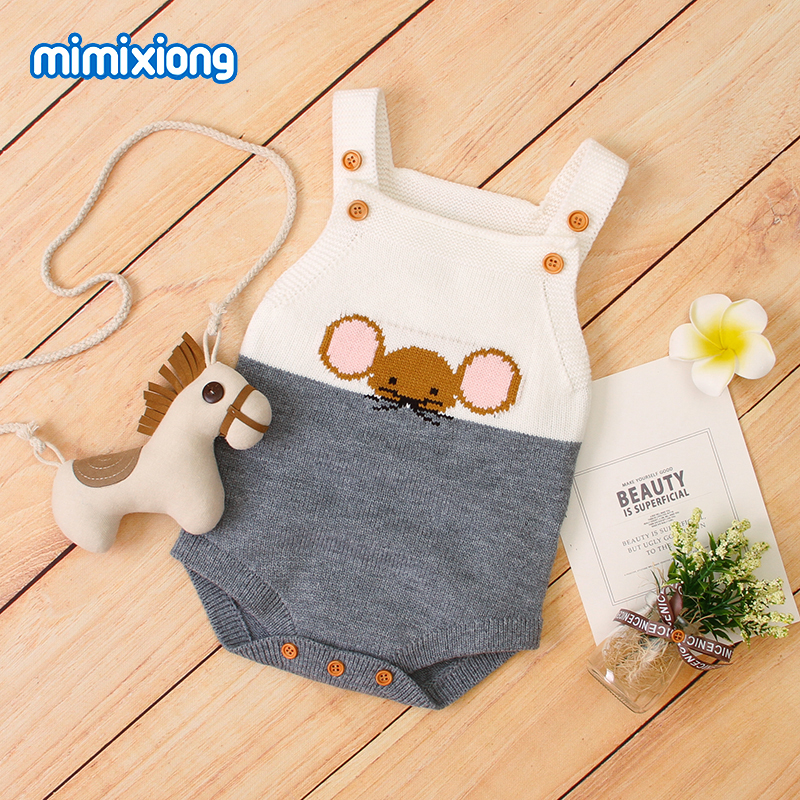 Baby Bodysuits Clothes Adorable Mouse Knitted Newborns Girls Boys Onesie Toddler Infant One Piece Overalls Children Costumes 0-2