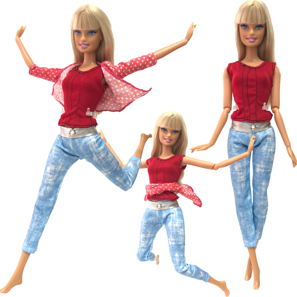 NK 1 Set Doll Fashion Outfit Long Jeans Trousers Daily Casual Wear Red Coat Pink Hot Shirt For Barbie Doll Accessories Gift 267A