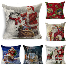Santa Claus Flax Pillow Cover Festival Decorations Cushion Pillow Case Customizable pillow covers  Cushion Cover цена 2017