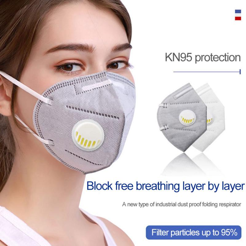 In Stock 5 Layer Kn95 Mask PM2.5 Ffp3 Ffp2 Mask With Breathing Valve Filter Safety Protective Mask Respirator Reusable Use