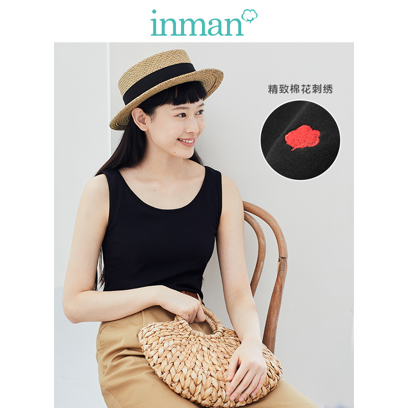 INMAN 2020 Spring New Arrival Literary Pure Color Round Collar All-match Slimmed Base Shirt Wear Outside Sleeveless Vest