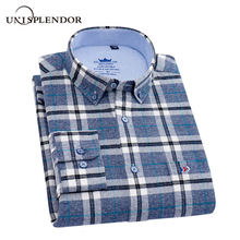 Oxford Textile 100%Cotton Business Men Shirts Plaid Long Sleeve Dress Casual Cool New Autumn Spring Camisa YN10527