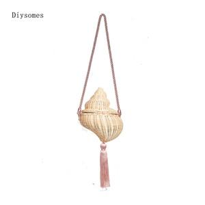 Diysomes Rattan Conch Shape One-shoulder