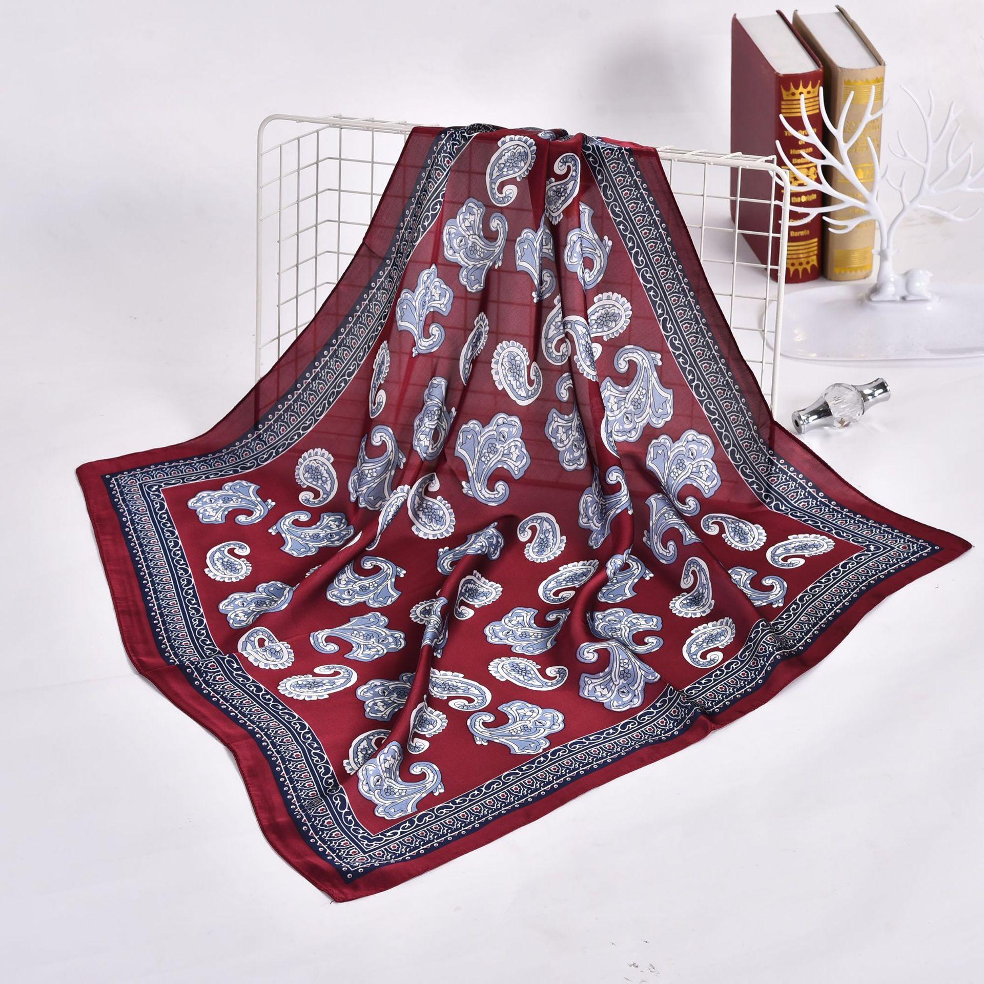 70cm Kerchief Fashion Women Hair Scarf Handkerchief Paisley Print Silk Satin Bag Scarfs Square Headband Small Neck Scarves 2019