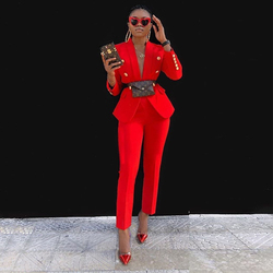 Ocstrade Tweedelige Set Vrouwen Outfit 2021 Mode Kleding Rode Blazer Pak 2 Stuk Sets Bijpassende Sexy Verjaardag Club Party outfits
