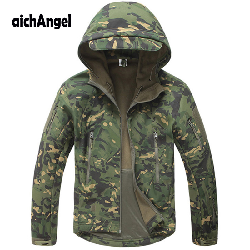 Tactical Fleece Jacket Military Uniform Coats Male Soft Shell Casual Hooded Jacket Men Army Clothing Warm Windproof Outerwear
