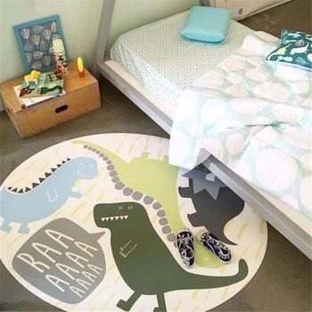 Kids Rug Round Baby Crawling Play Mat Diameter 120cm Dinosaur Rabbit Children's Carpets Soft Floor Non-slip Blankets For Nursery