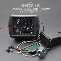 4-Bands Acoustic Folk Guitar Preamp EQ Equalizer Piezo Pickup with Tuner