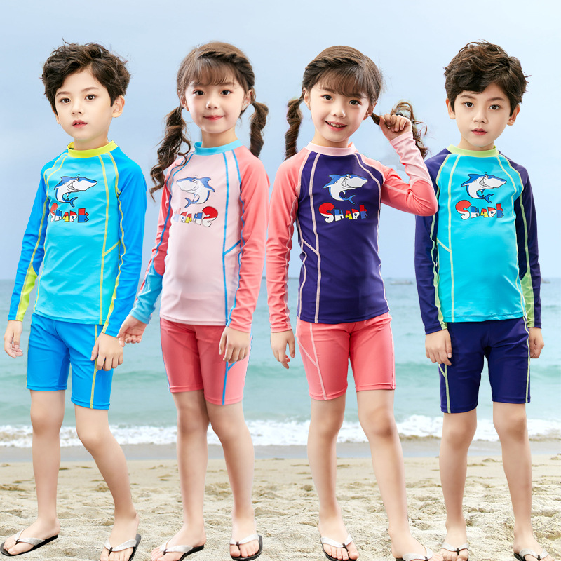 KID'S Swimwear Male Baby Sun-resistant Tour Bathing Suit Girls Split Type Long Sleeve GIRL'S Large Children Quick-Dry Training S
