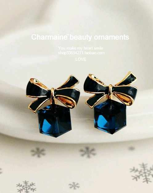 High Quality Fashion Chic Shimmer Bow Knot Cubic Green Blue Crystal Earrings Rhinestone Stud Earrings for Women