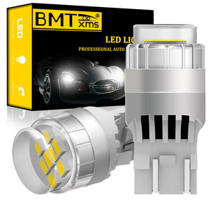 BMTxms 2x T20 W21/5W W21 5W 7443 CANBUS No Error White LED Bulb For Fiat 500 2009-2016 DRL Daytime Running Lights Super Bright