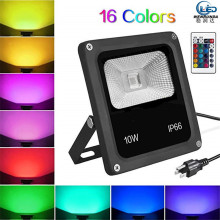 Led Flood Light Outdoor Floodlight Spotlight 10W Wall Lamp With remote control Garden 220V 240V RGB Lighting IP66 Waterproof