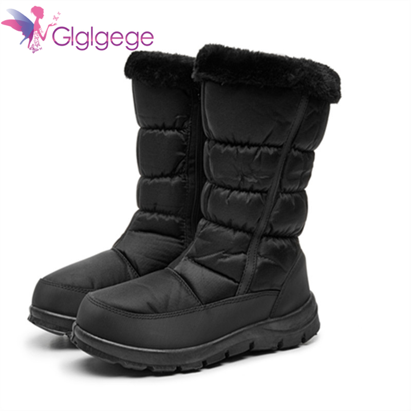 Buy Glglgeg Women Boots Winter Shoes Platform Snow Boots Woman Plush Warm Female High Boots Plus Size Ladies Shoes Casual Waterproof