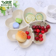 WBBOOMING 4 Divided Heart-shape Plastic Box Fruit Platter Serving Tray Creative Plates Snacks Nuts Dessert Storage Box Container