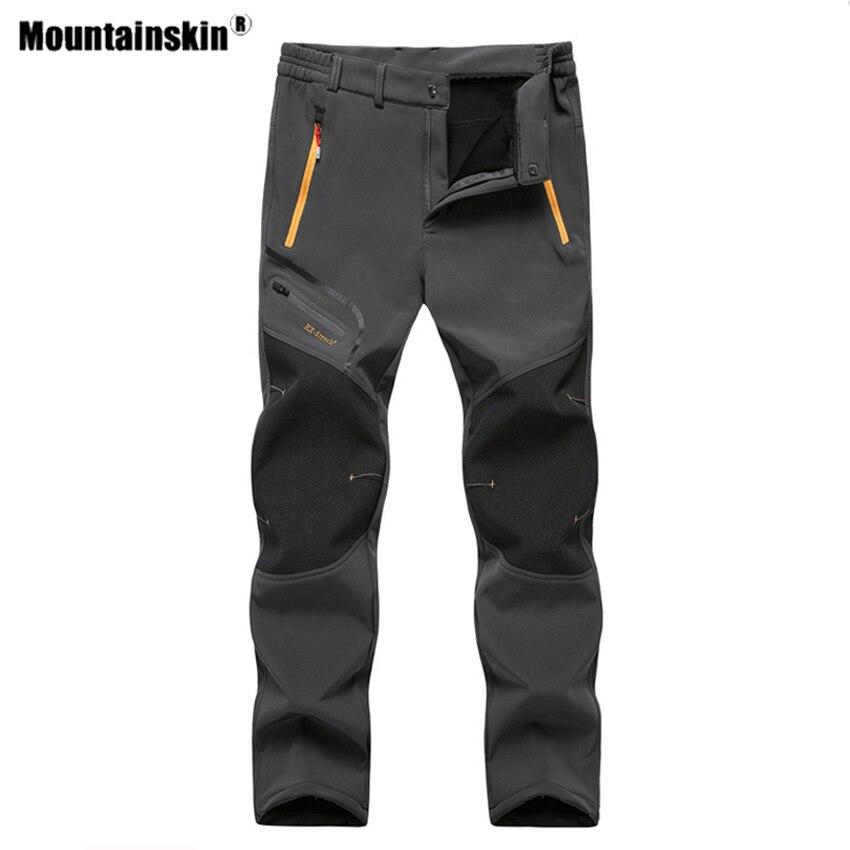 Mountainskin Men's Winter Fleece Waterproof Outdoor Hiking Pants Softshell Camping Trekking Climbing Training Trousers 6XL VA640