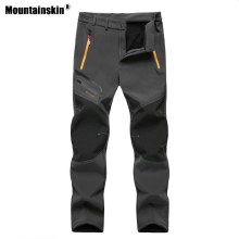 цена на Mountainskin Men's Winter Fleece Waterproof Outdoor Hiking Pants Softshell Camping Trekking Climbing Training Trousers 6XL VA640