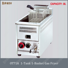 OT71A/OT72A/OT73A commercial LPG gas deep fryer with basket food grade stainless steel tabletop gas chips chicken fryer machine df5g free standing electric temperature controlled commercial deep donut large capacity chicken chip fish fryer with basket