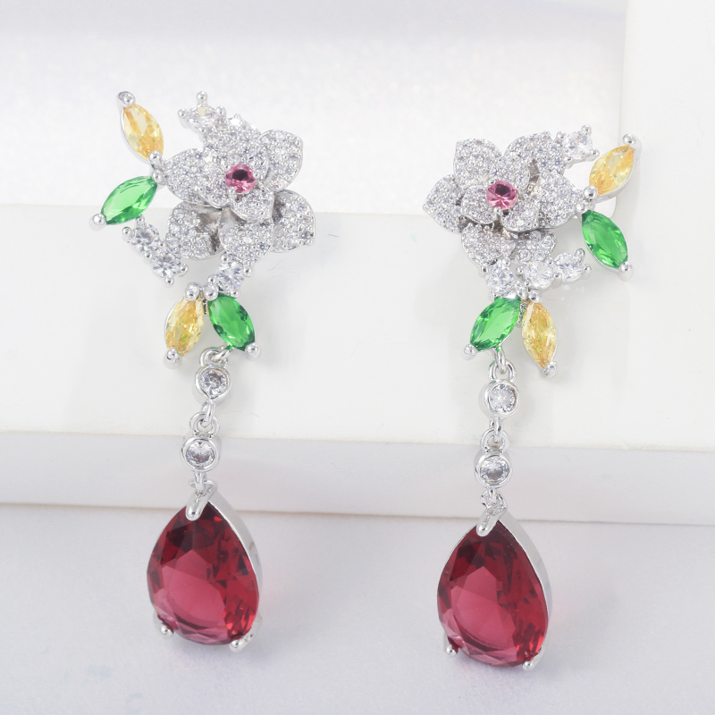QooLady Brand Exquisite Multicolor CZ Big Flower Drop Necklaces and Earrings Women Wedding Dress Jewelry Sets for Brides Z008 in Jewelry Sets from Jewelry Accessories