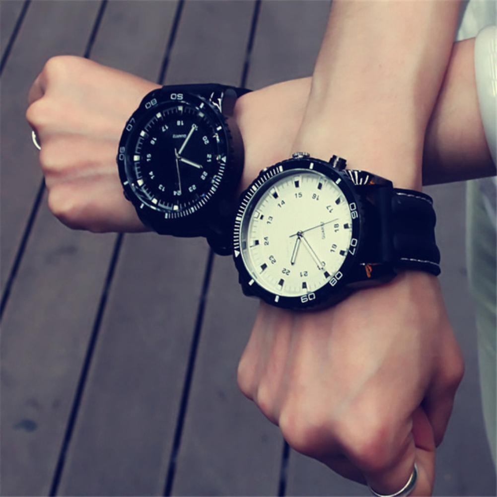 Sport Large Dial Leather Band Quartz Wrist Watch Couple Gift Men Women Faux